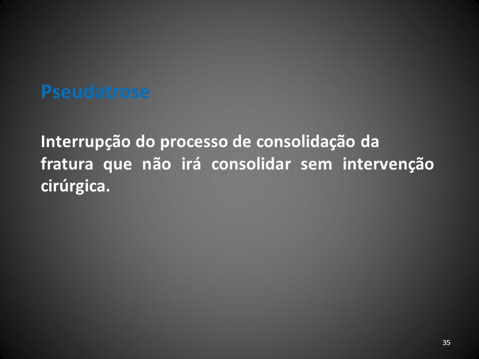 Pseudatrose Interrupção do processo de consolidação da fratura que não irá consolidar sem intervenção cirúrgica. 35