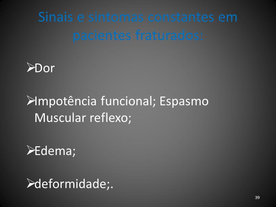 Sinais e sintomas constantes em pacientes fraturados: Dor Impotência funcional; Espasmo Muscular reflexo; Edema; deformidade;. 39