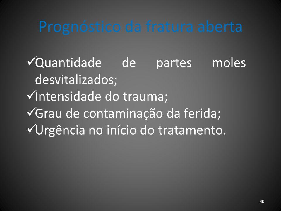 Prognóstico da fratura aberta Quantidade de partes moles desvitalizados; Intensidade do trauma; Grau de contaminação da ferida; Urgência no início do