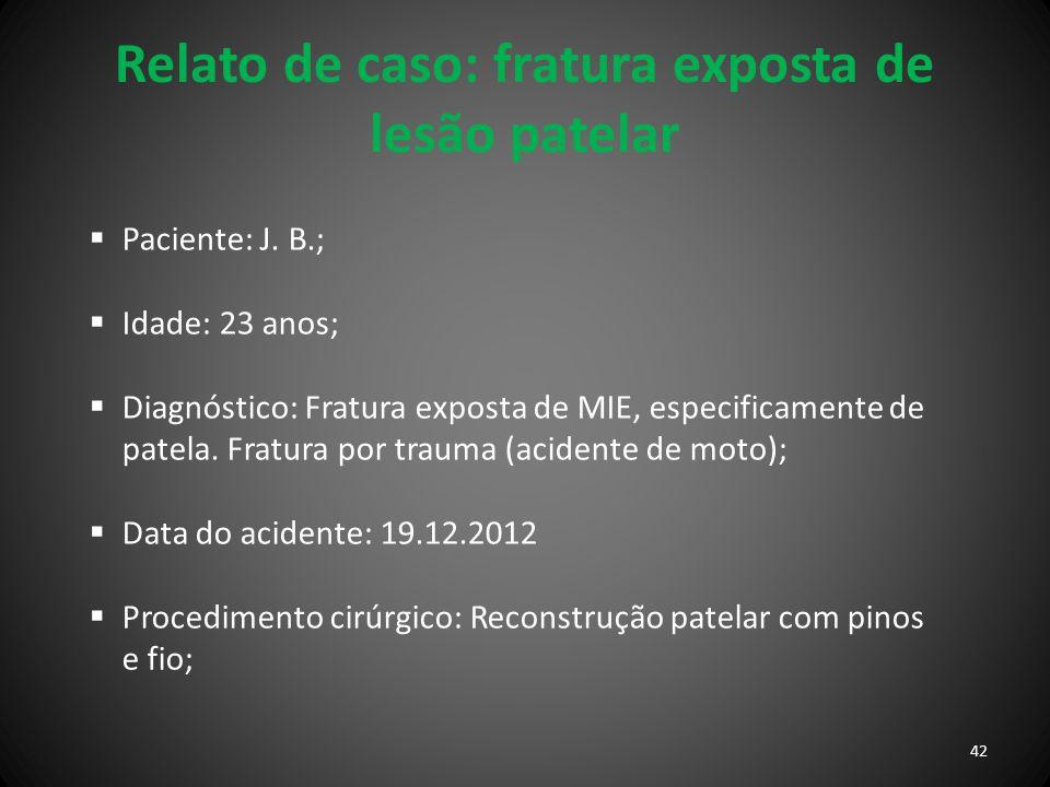 Relato de caso: fratura exposta de lesão patelar Paciente: J. B.; Idade: 23 anos; Diagnóstico: Fratura exposta de MIE, especificamente de patela. Frat