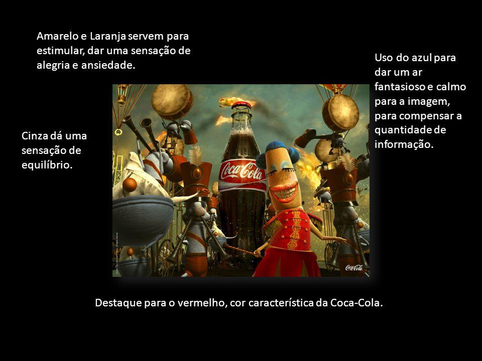 Destaque para o vermelho, cor característica da Coca-Cola.