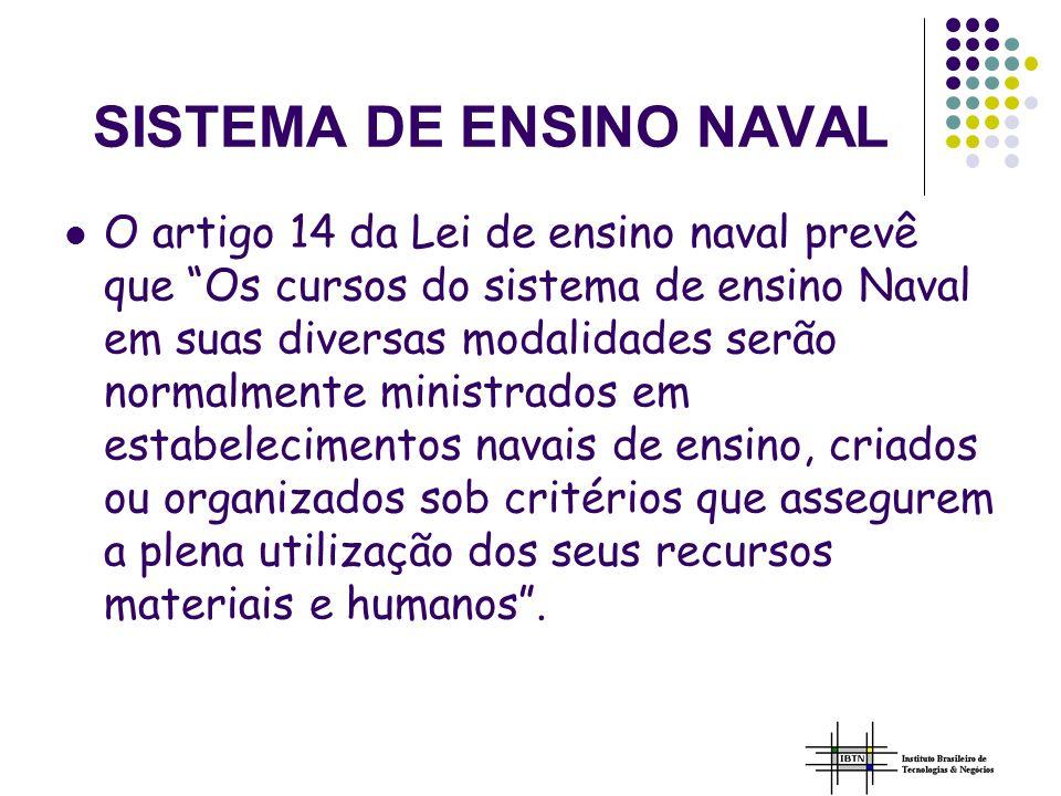 SISTEMA DE ENSINO NAVAL O artigo 14 da Lei de ensino naval prevê que Os cursos do sistema de ensino Naval em suas diversas modalidades serão normalmente ministrados em estabelecimentos navais de ensino, criados ou organizados sob critérios que assegurem a plena utilização dos seus recursos materiais e humanos.