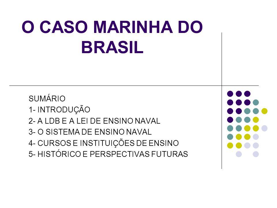 O CASO MARINHA DO BRASIL SUMÁRIO 1- INTRODUÇÃO 2- A LDB E A LEI DE ENSINO NAVAL 3- O SISTEMA DE ENSINO NAVAL 4- CURSOS E INSTITUIÇÕES DE ENSINO 5- HISTÓRICO E PERSPECTIVAS FUTURAS