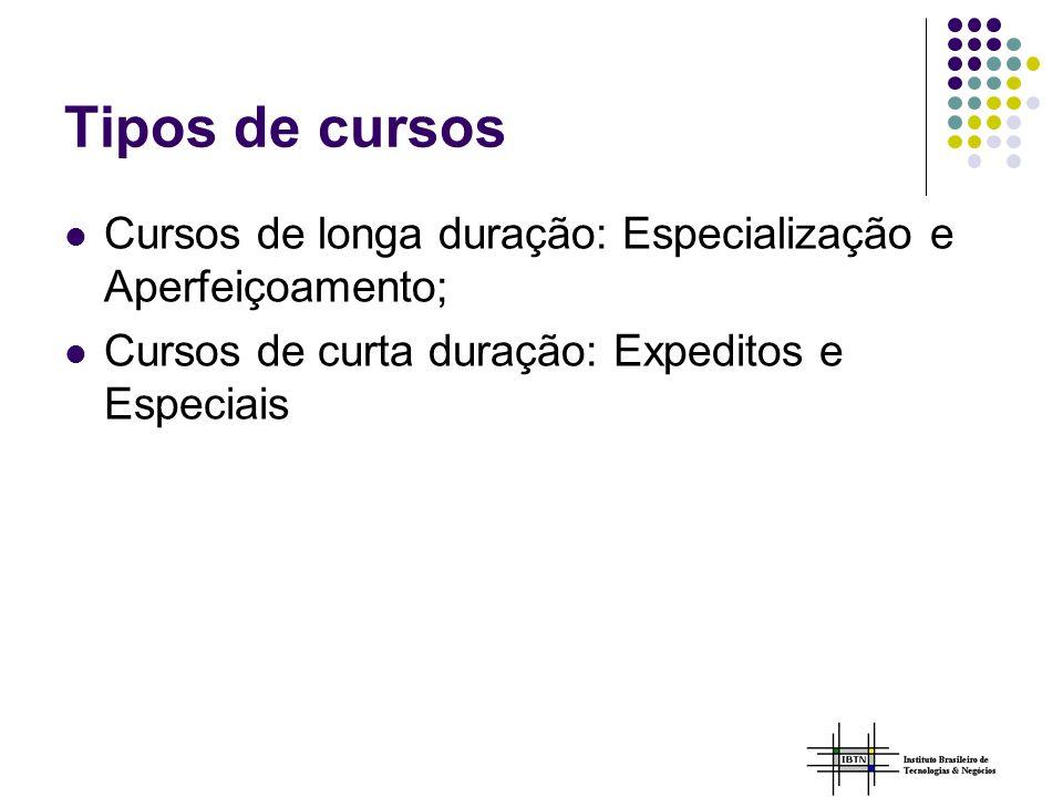 Tipos de cursos Cursos de longa duração: Especialização e Aperfeiçoamento; Cursos de curta duração: Expeditos e Especiais