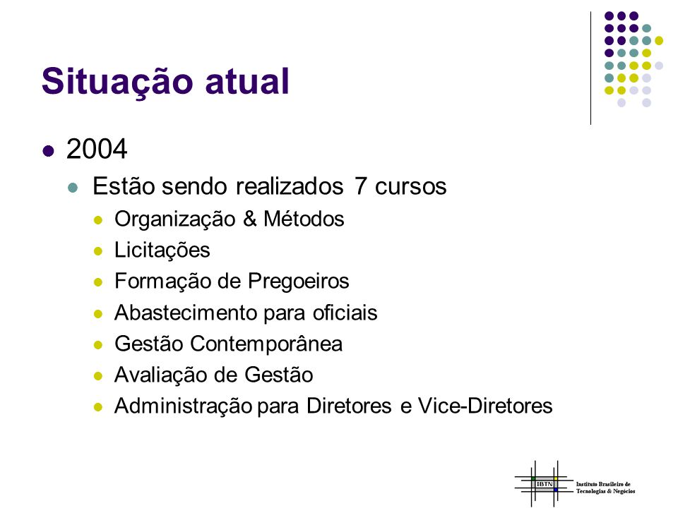 Situação atual 2004 Estão sendo realizados 7 cursos Organização & Métodos Licitações Formação de Pregoeiros Abastecimento para oficiais Gestão Contemporânea Avaliação de Gestão Administração para Diretores e Vice-Diretores
