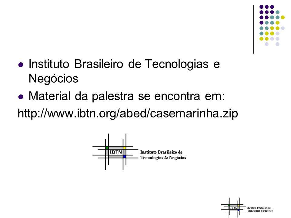 Instituto Brasileiro de Tecnologias e Negócios Material da palestra se encontra em: http://www.ibtn.org/abed/casemarinha.zip