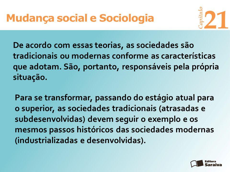 Mudança social e Sociologia Capítulo 21 Para se transformar, passando do estágio atual para o superior, as sociedades tradicionais (atrasadas e subdes