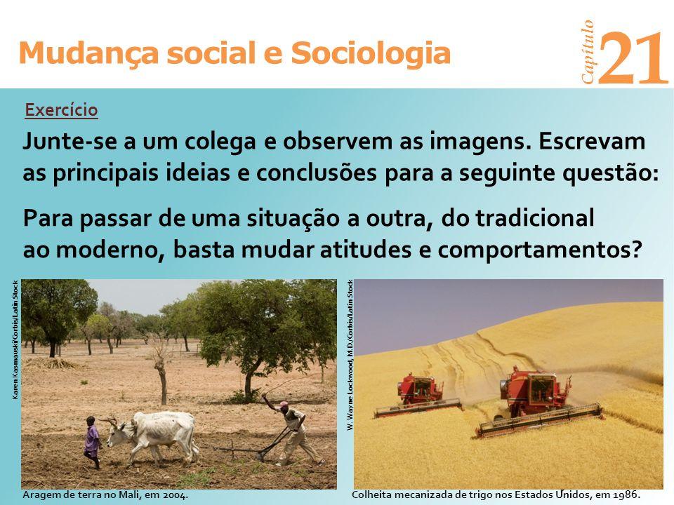 Mudança social e Sociologia Capítulo 21 Junte-se a um colega e observem as imagens. Escrevam as principais ideias e conclusões para a seguinte questão