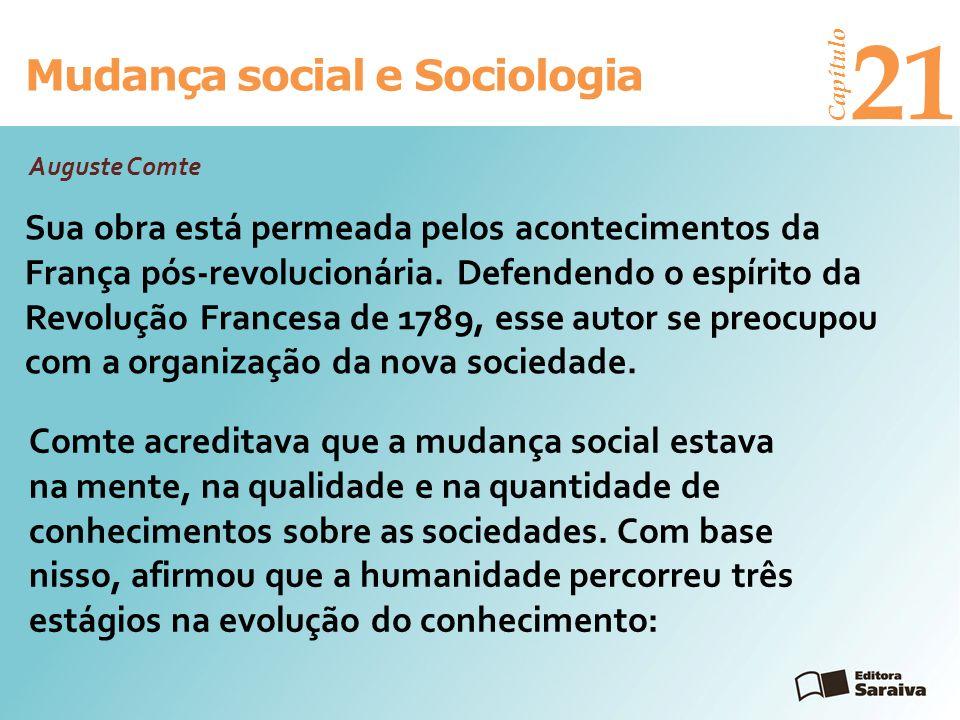 Mudança social e Sociologia Capítulo 21 3º estágio – positivo corresponde à era da ciência e da indústria, na qual se invocam leis com base na observação empírica, na comparação e na experiência.