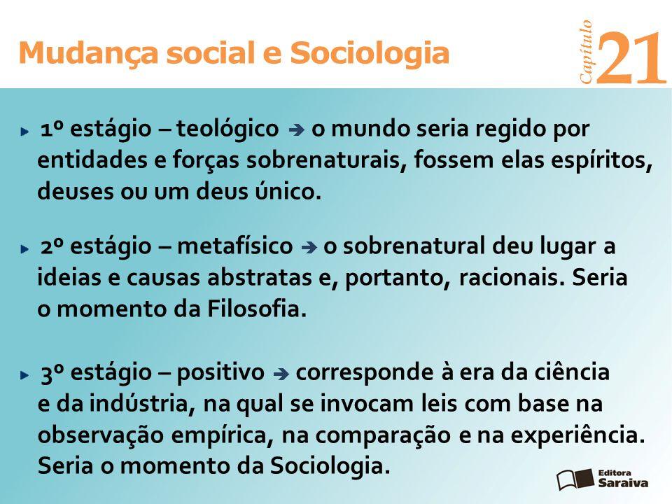 Mudança social e Sociologia Capítulo 21 3º estágio – positivo corresponde à era da ciência e da indústria, na qual se invocam leis com base na observa
