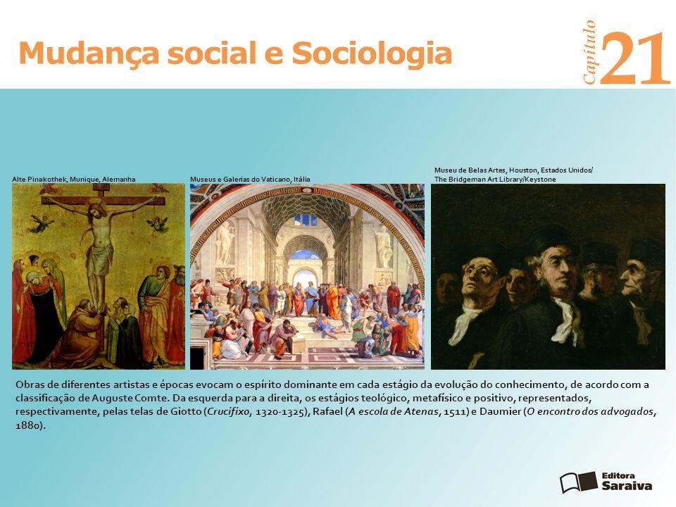 Mudança social e Sociologia Capítulo 21 Em termos sociológicos, Auguste Comte dividiu seu sistema em dois campos, o estático e o dinâmico, expressos nas palavras ordem e progresso.