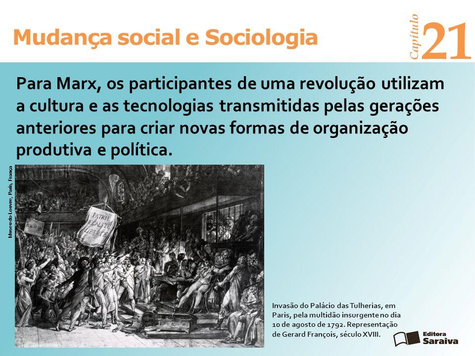Mudança social e Sociologia Capítulo 21 Para Marx, os participantes de uma revolução utilizam a cultura e as tecnologias transmitidas pelas gerações a