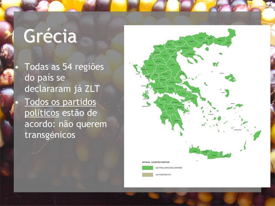 Grécia Todas as 54 regiões do país se declararam já ZLT Todos os partidos pol í ticos estão de acordo: não querem transg é nicos