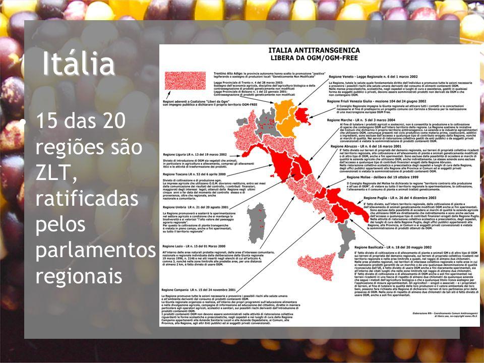 Itália 15 das 20 regiões são ZLT, ratificadas pelos parlamentos regionais
