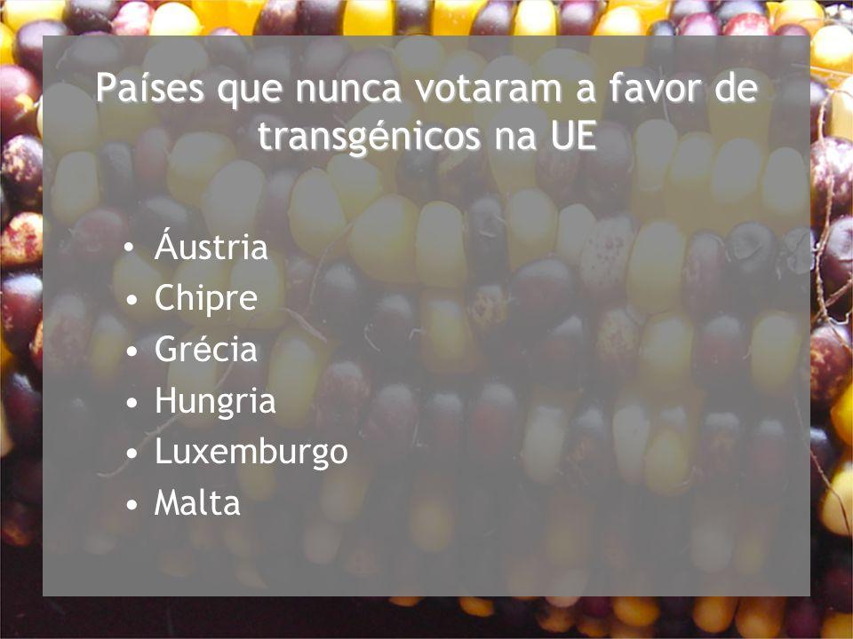 Pa í ses que nunca votaram a favor de transg é nicos na UE Á ustria Chipre Gr é cia Hungria Luxemburgo Malta
