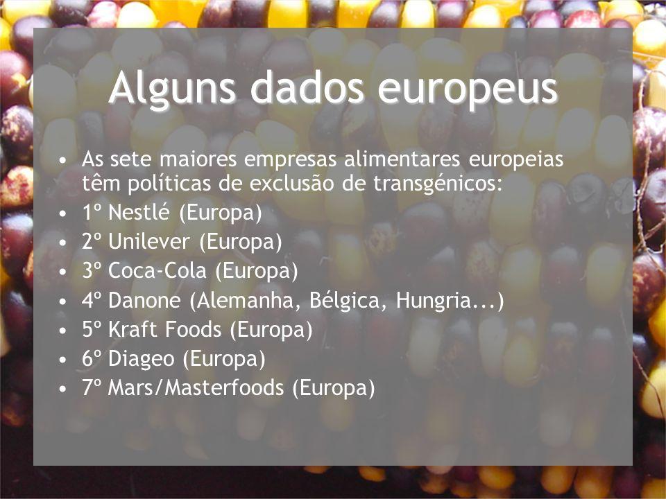 Alguns dados europeus As sete maiores empresas alimentares europeias têm políticas de exclusão de transgénicos: 1º Nestlé (Europa) 2º Unilever (Europa) 3º Coca-Cola (Europa) 4º Danone (Alemanha, Bélgica, Hungria...) 5º Kraft Foods (Europa) 6º Diageo (Europa) 7º Mars/Masterfoods (Europa)