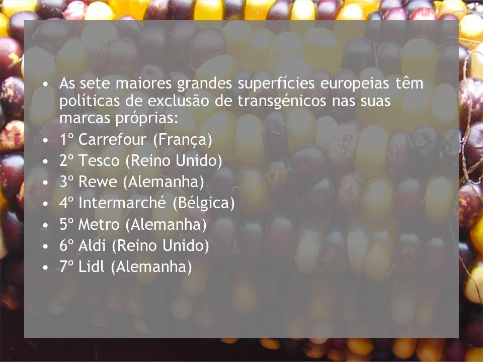 As sete maiores grandes superfícies europeias têm políticas de exclusão de transgénicos nas suas marcas próprias: 1º Carrefour (França) 2º Tesco (Reino Unido) 3º Rewe (Alemanha) 4º Intermarché (Bélgica) 5º Metro (Alemanha) 6º Aldi (Reino Unido) 7º Lidl (Alemanha)