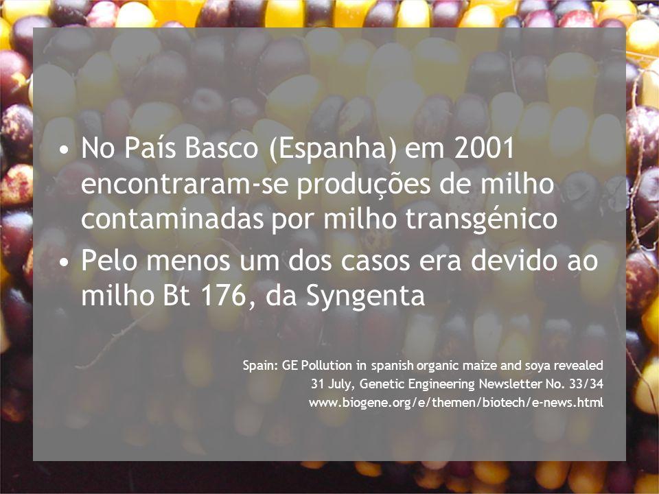 No País Basco (Espanha) em 2001 encontraram-se produções de milho contaminadas por milho transgénico Pelo menos um dos casos era devido ao milho Bt 176, da Syngenta Spain: GE Pollution in spanish organic maize and soya revealed 31 July, Genetic Engineering Newsletter No.