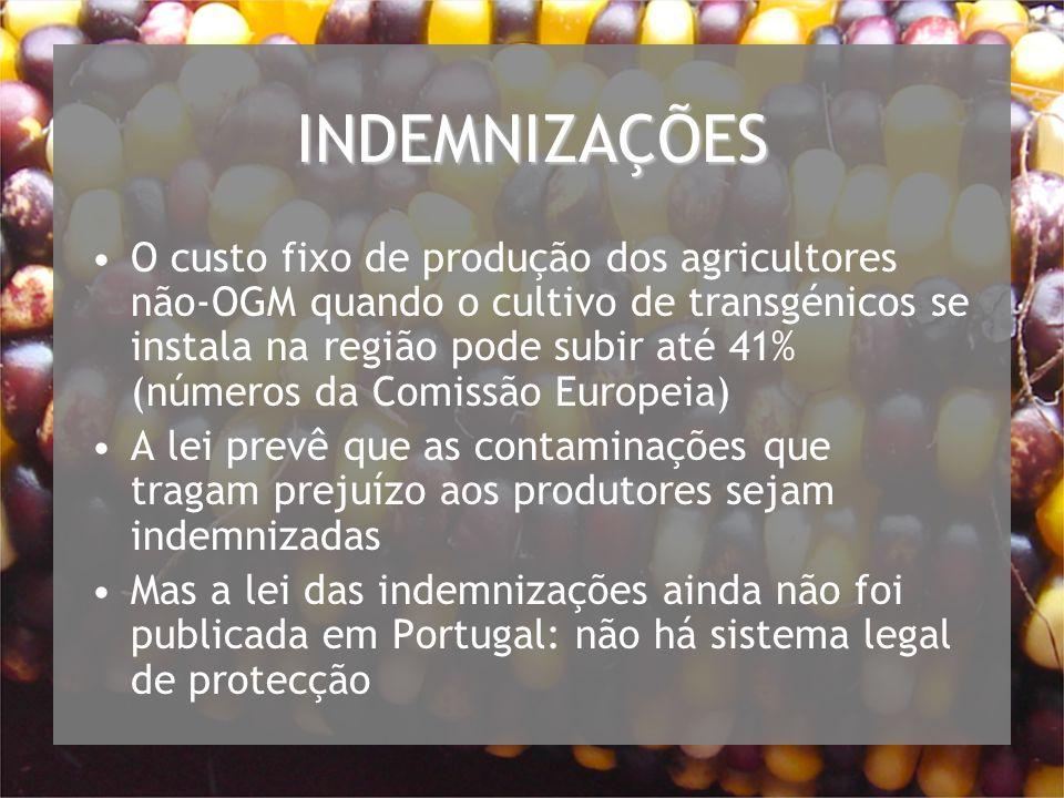 INDEMNIZAÇÕES O custo fixo de produção dos agricultores não-OGM quando o cultivo de transgénicos se instala na região pode subir até 41% (números da Comissão Europeia) A lei prevê que as contaminações que tragam prejuízo aos produtores sejam indemnizadas Mas a lei das indemnizações ainda não foi publicada em Portugal: não há sistema legal de protecção