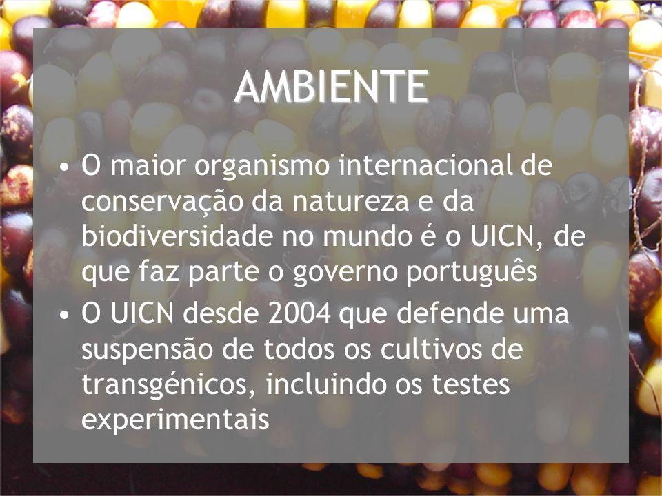 AMBIENTE O maior organismo internacional de conservação da natureza e da biodiversidade no mundo é o UICN, de que faz parte o governo português O UICN desde 2004 que defende uma suspensão de todos os cultivos de transgénicos, incluindo os testes experimentais