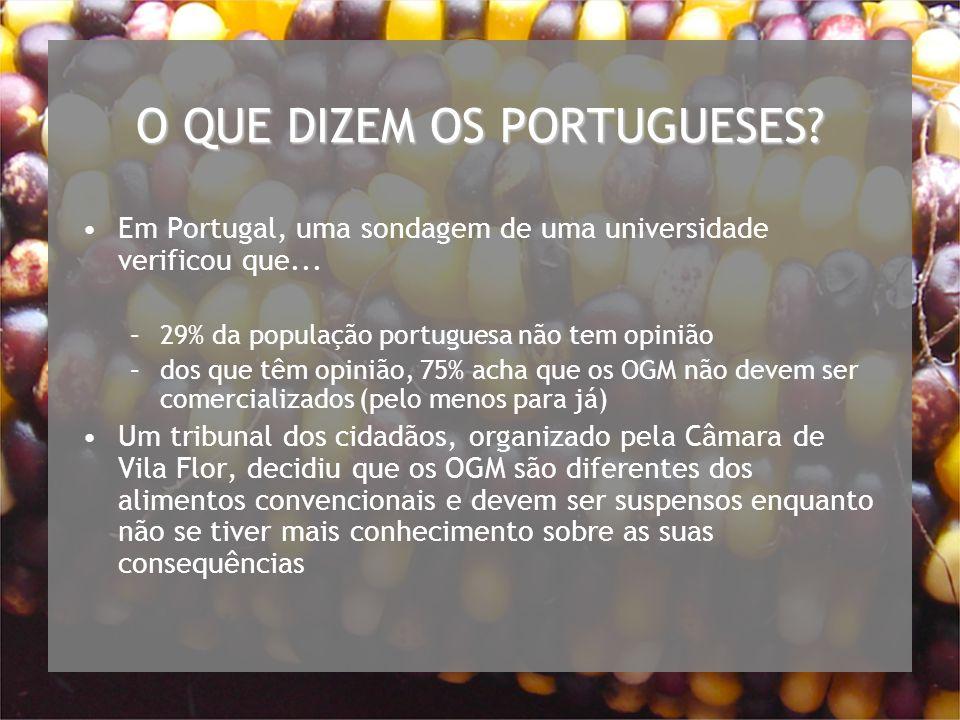 O QUE DIZEM OS PORTUGUESES.Em Portugal, uma sondagem de uma universidade verificou que...