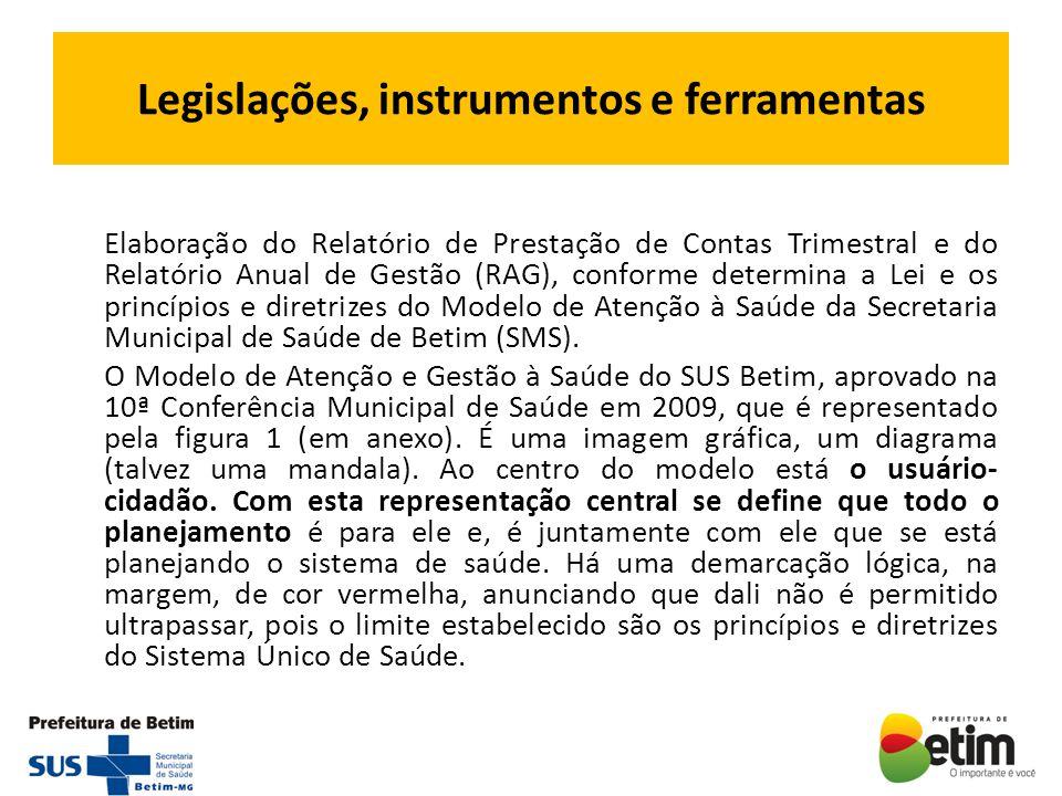 Legislações, instrumentos e ferramentas Elaboração do Relatório de Prestação de Contas Trimestral e do Relatório Anual de Gestão (RAG), conforme deter