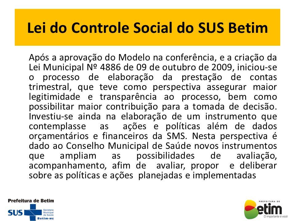 Lei do Controle Social do SUS Betim Após a aprovação do Modelo na conferência, e a criação da Lei Municipal Nº 4886 de 09 de outubro de 2009, iniciou-