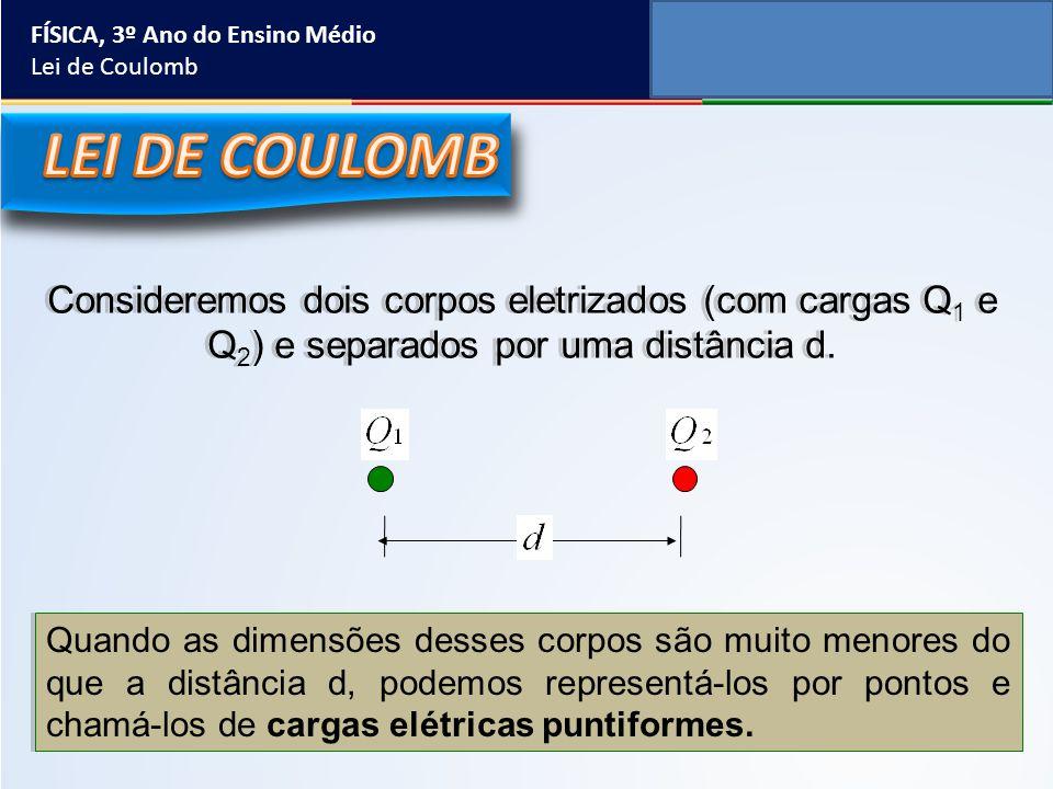 FÍSICA, 3º Ano do Ensino Médio Lei de Coulomb Consideremos dois corpos eletrizados (com cargas Q 1 e Q 2 ) e separados por uma distância d. Quando as