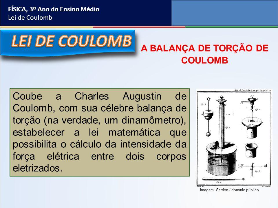 FÍSICA, 3º Ano do Ensino Médio Lei de Coulomb Coube a Charles Augustin de Coulomb, com sua célebre balança de torção (na verdade, um dinamômetro), est