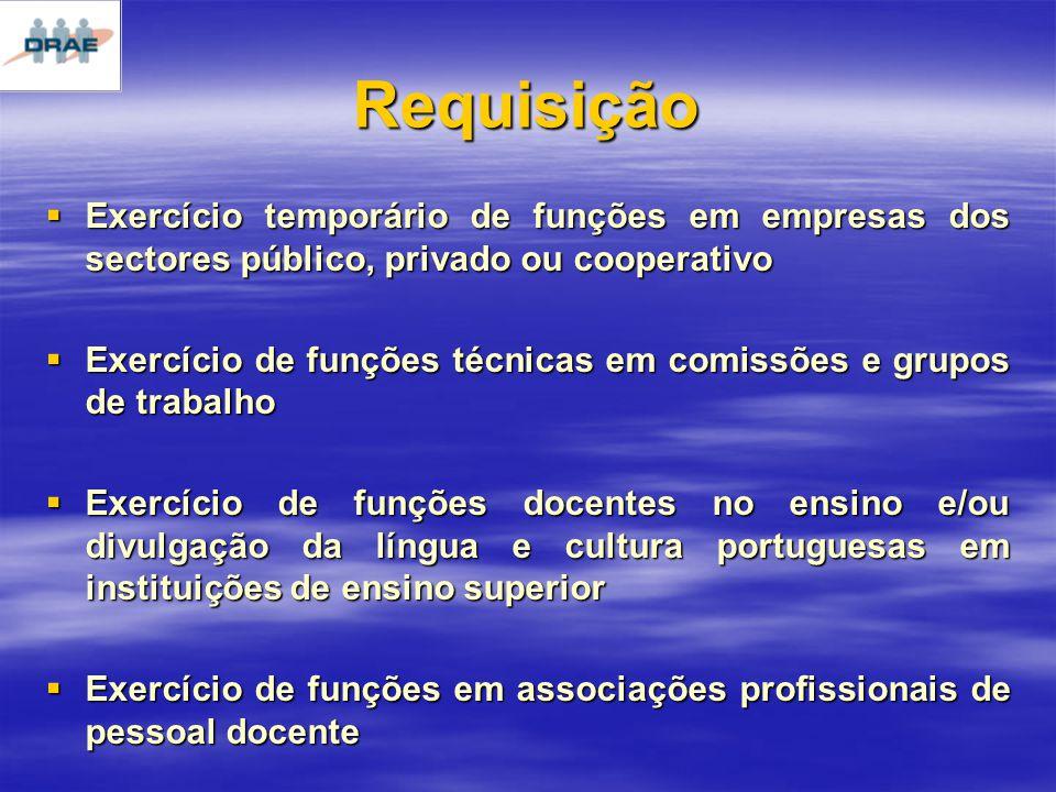 Exercício temporário de funções em empresas dos sectores público, privado ou cooperativo Exercício temporário de funções em empresas dos sectores público, privado ou cooperativo Exercício de funções técnicas em comissões e grupos de trabalho Exercício de funções técnicas em comissões e grupos de trabalho Exercício de funções docentes no ensino e/ou divulgação da língua e cultura portuguesas em instituições de ensino superior Exercício de funções docentes no ensino e/ou divulgação da língua e cultura portuguesas em instituições de ensino superior Exercício de funções em associações profissionais de pessoal docente Exercício de funções em associações profissionais de pessoal docente Requisição