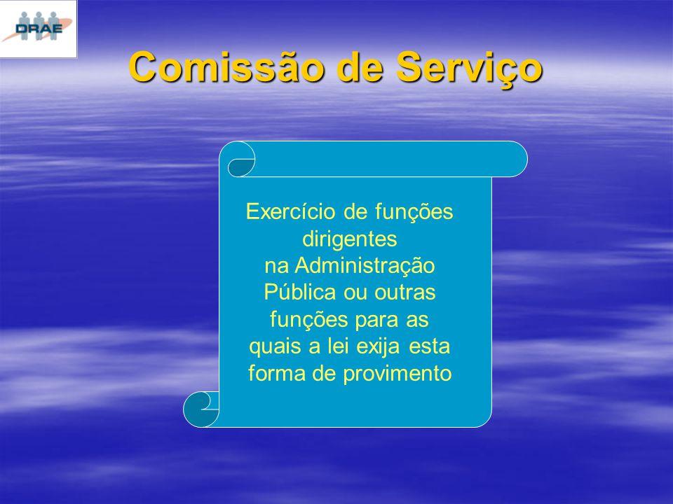 Comissão de Serviço Exercício de funções dirigentes na Administração Pública ou outras funções para as quais a lei exija esta forma de provimento