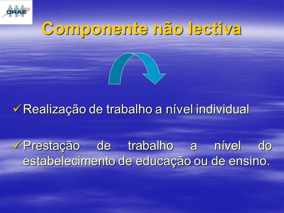 Componente não lectiva Realização de trabalho a nível individual Realização de trabalho a nível individual Prestação de trabalho a nível do estabelecimento de educação ou de ensino.