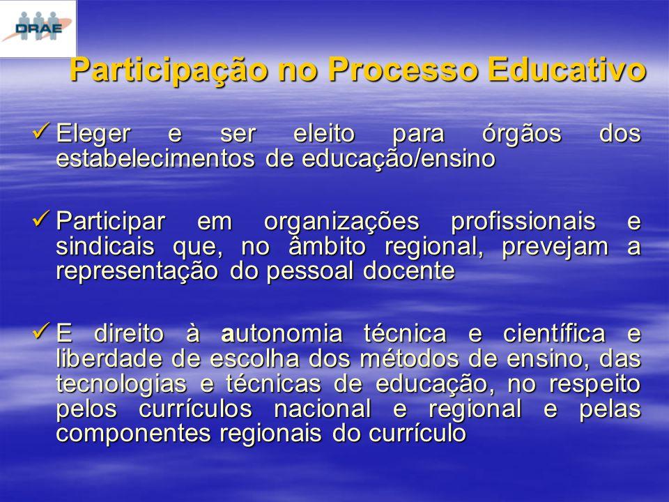 Participação no Processo Educativo Eleger e ser eleito para órgãos dos estabelecimentos de educação/ensino Eleger e ser eleito para órgãos dos estabelecimentos de educação/ensino Participar em organizações profissionais e sindicais que, no âmbito regional, prevejam a representação do pessoal docente Participar em organizações profissionais e sindicais que, no âmbito regional, prevejam a representação do pessoal docente E direito à autonomia técnica e científica e liberdade de escolha dos métodos de ensino, das tecnologias e técnicas de educação, no respeito pelos currículos nacional e regional e pelas componentes regionais do currículo E direito à autonomia técnica e científica e liberdade de escolha dos métodos de ensino, das tecnologias e técnicas de educação, no respeito pelos currículos nacional e regional e pelas componentes regionais do currículo