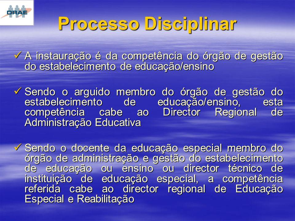 Processo Disciplinar A instauração é da competência do órgão de gestão do estabelecimento de educação/ensino A instauração é da competência do órgão de gestão do estabelecimento de educação/ensino Sendo o arguido membro do órgão de gestão do estabelecimento de educação/ensino, esta competência cabe ao Director Regional de Administração Educativa Sendo o arguido membro do órgão de gestão do estabelecimento de educação/ensino, esta competência cabe ao Director Regional de Administração Educativa Sendo o docente da educação especial membro do órgão de administração e gestão do estabelecimento de educação ou ensino ou director técnico de instituição de educação especial, a competência referida cabe ao director regional de Educação Especial e Reabilitação Sendo o docente da educação especial membro do órgão de administração e gestão do estabelecimento de educação ou ensino ou director técnico de instituição de educação especial, a competência referida cabe ao director regional de Educação Especial e Reabilitação