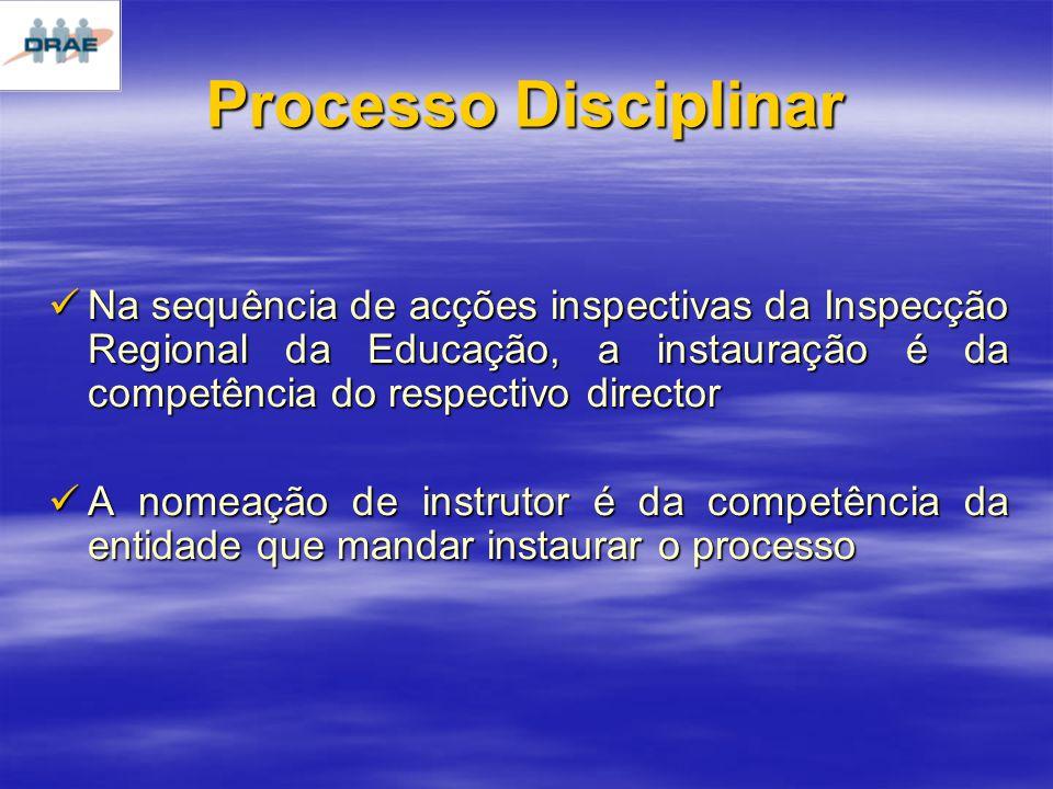 Processo Disciplinar Na sequência de acções inspectivas da Inspecção Regional da Educação, a instauração é da competência do respectivo director Na sequência de acções inspectivas da Inspecção Regional da Educação, a instauração é da competência do respectivo director A nomeação de instrutor é da competência da entidade que mandar instaurar o processo A nomeação de instrutor é da competência da entidade que mandar instaurar o processo