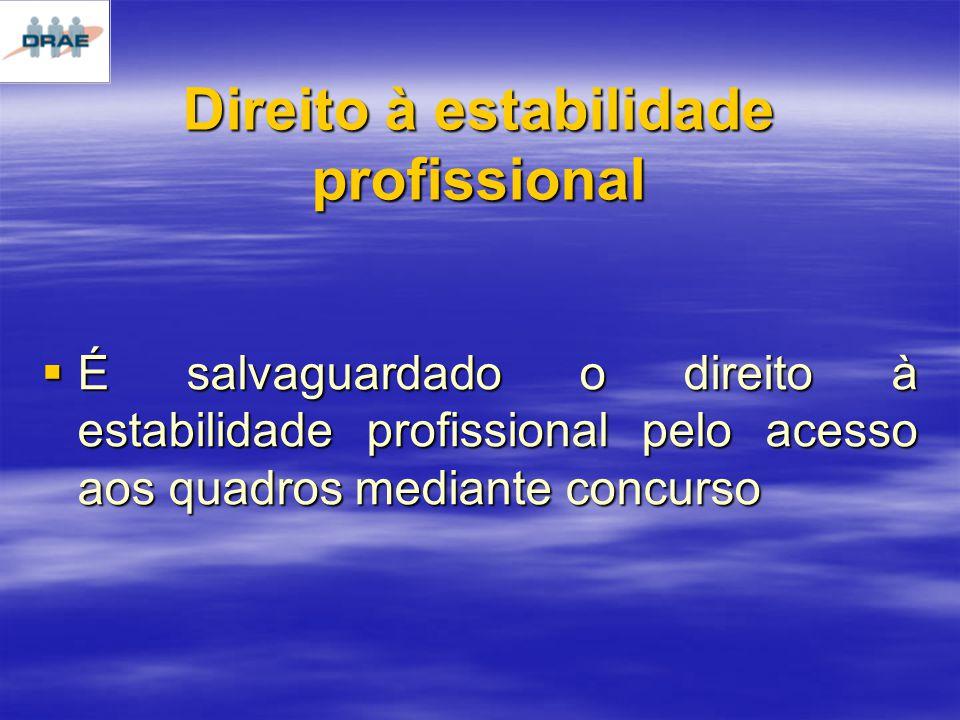 Direito à estabilidade profissional É salvaguardado o direito à estabilidade profissional pelo acesso aos quadros mediante concurso É salvaguardado o direito à estabilidade profissional pelo acesso aos quadros mediante concurso