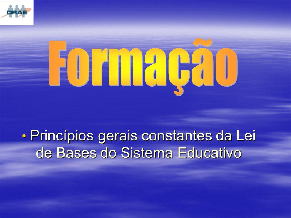 Princípios gerais constantes da Lei de Bases do Sistema Educativo Princípios gerais constantes da Lei de Bases do Sistema Educativo