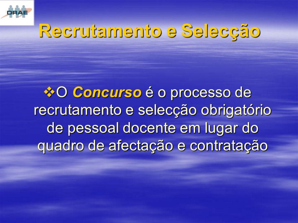 O Concurso é o processo de recrutamento e selecção obrigatório de pessoal docente em lugar do quadro de afectação e contratação O Concurso é o processo de recrutamento e selecção obrigatório de pessoal docente em lugar do quadro de afectação e contratação Recrutamento e Selecção