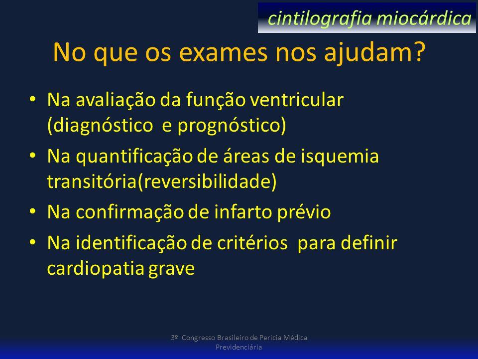 No que os exames nos ajudam? Na avaliação da função ventricular (diagnóstico e prognóstico) Na quantificação de áreas de isquemia transitória(reversib