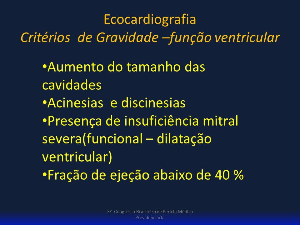 Ecocardiografia Critérios de Gravidade –função ventricular 3º Congresso Brasileiro de Pericia Médica Previdenciária Aumento do tamanho das cavidades A