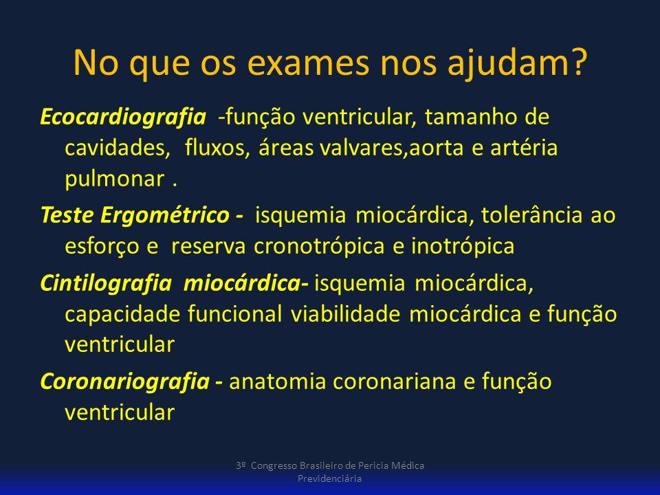 No que os exames nos ajudam? Ecocardiografia -função ventricular, tamanho de cavidades, fluxos, áreas valvares,aorta e artéria pulmonar. Teste Ergomét