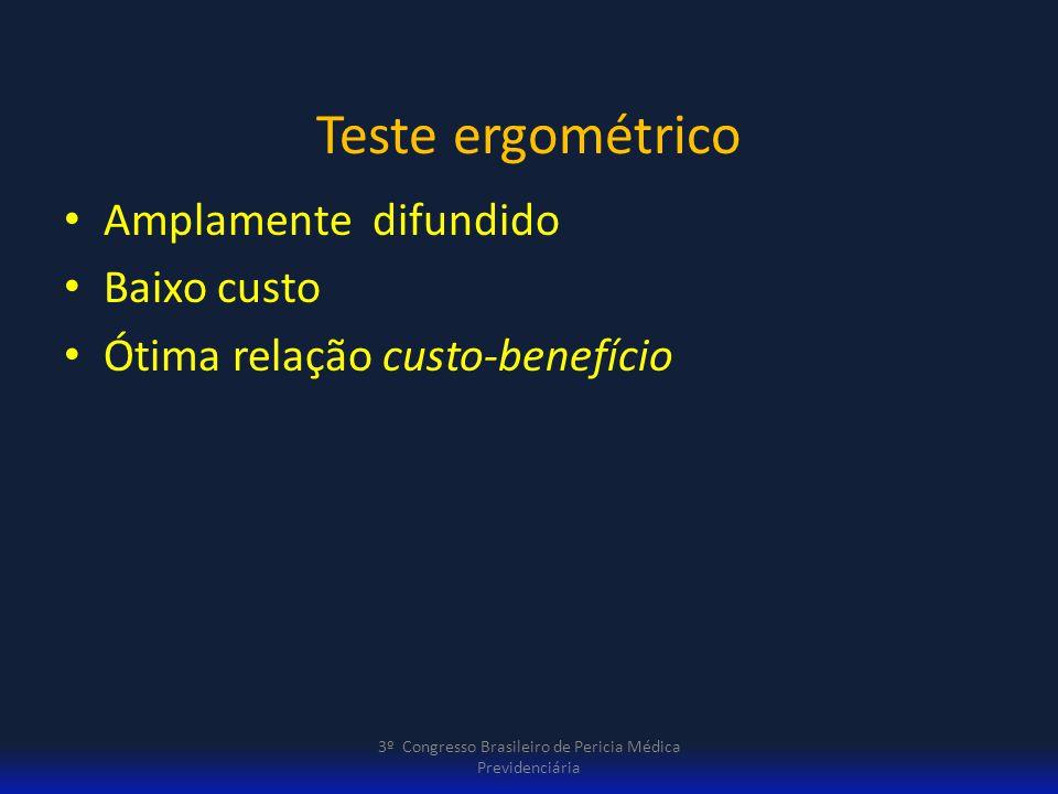 Teste ergométrico Amplamente difundido Baixo custo Ótima relação custo-benefício 3º Congresso Brasileiro de Pericia Médica Previdenciária