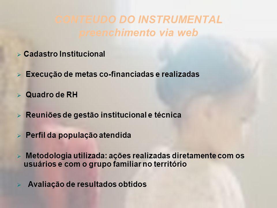 CONTEUDO DO INSTRUMENTAL preenchimento via web Cadastro Institucional Execução de metas co-financiadas e realizadas Quadro de RH Reuniões de gestão in