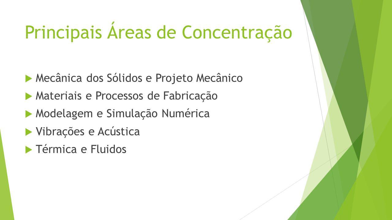 Principais Áreas de Concentração Mecânica dos Sólidos e Projeto Mecânico Materiais e Processos de Fabricação Modelagem e Simulação Numérica Vibrações e Acústica Térmica e Fluidos