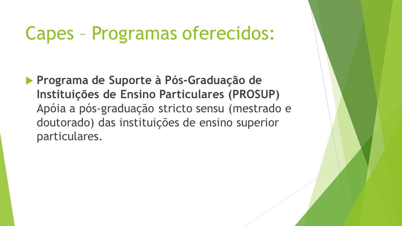 Capes – Programas oferecidos: Programa de Suporte à Pós-Graduação de Instituições de Ensino Particulares (PROSUP) Apóia a pós-graduação stricto sensu (mestrado e doutorado) das instituições de ensino superior particulares.