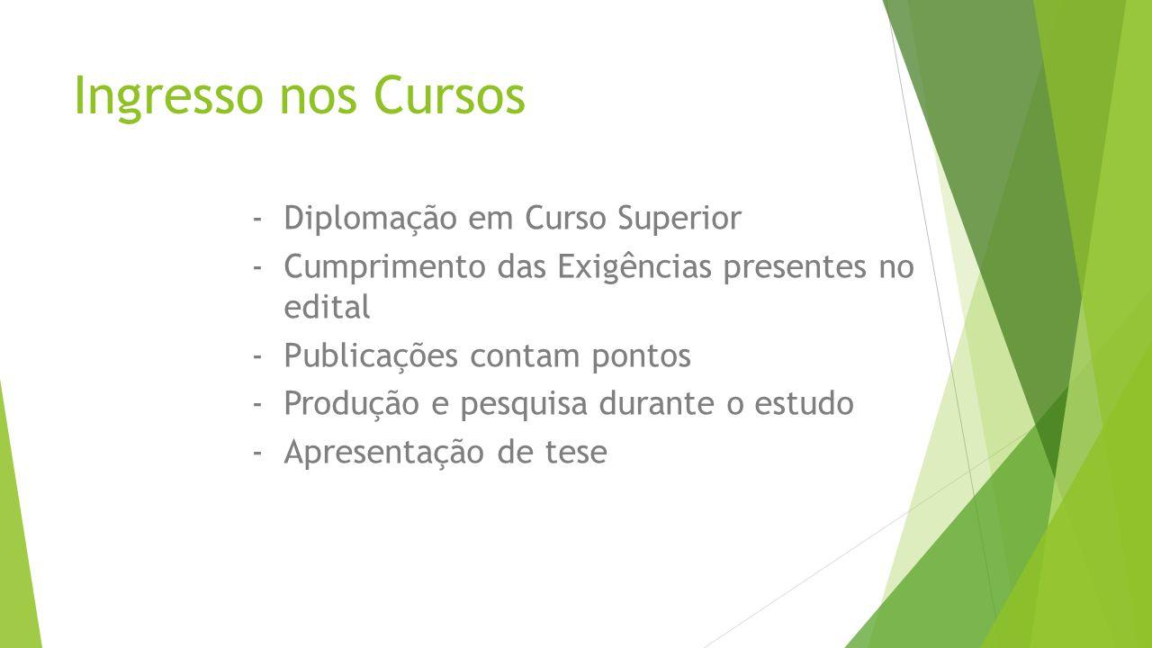 Ingresso nos Cursos -Diplomação em Curso Superior -Cumprimento das Exigências presentes no edital -Publicações contam pontos -Produção e pesquisa durante o estudo -Apresentação de tese