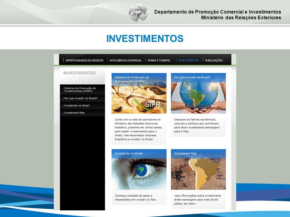 Departamento de Promoção Comercial e Investimentos Ministério das Relações Exteriores INVESTIMENTOS
