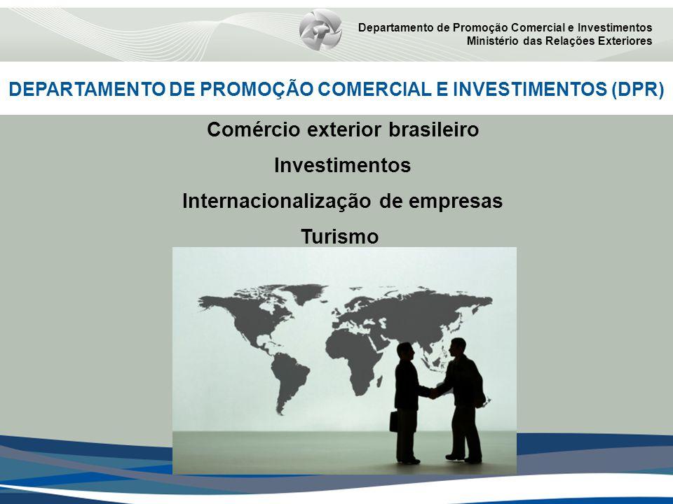 DEPARTAMENTO DE PROMOÇÃO COMERCIAL E INVESTIMENTOS (DPR) Departamento de Promoção Comercial e Investimentos Ministério das Relações Exteriores Comércio exterior brasileiro Investimentos Internacionalização de empresas Turismo