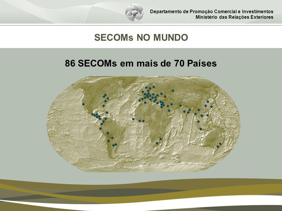 Departamento de Promoção Comercial e Investimentos Ministério das Relações Exteriores SECOMs NO MUNDO 86 SECOMs em mais de 70 Países