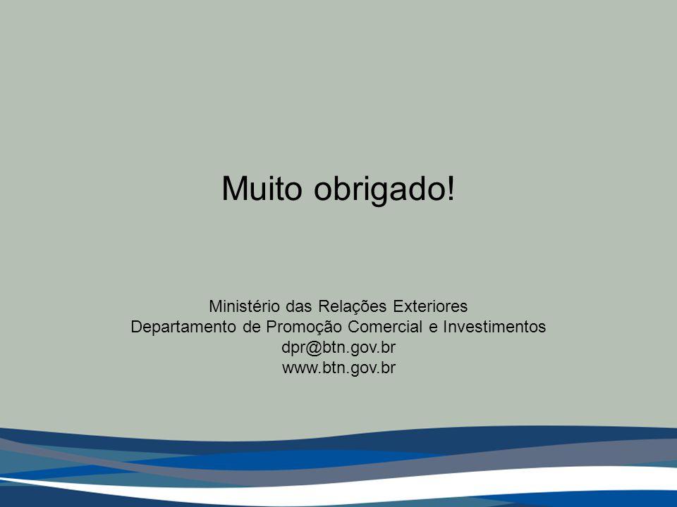 Muito obrigado! Ministério das Relações Exteriores Departamento de Promoção Comercial e Investimentos dpr@btn.gov.br www.btn.gov.br